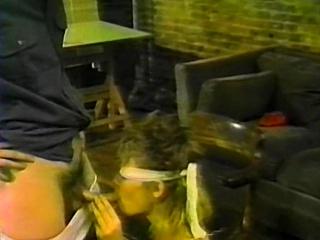 Blindfolded amateur blonde sucking cock