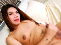 Sweet Tranny Am Jerks Off Her Hard Cock Until She Cums