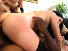 Babe In Stockings Fucks With Two Guys