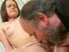 Young Active Beautiful Cutie Blows Old Cock