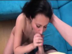 Beautiful busty brunette loves to suck