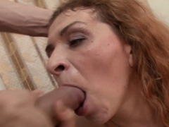 redheaded mature gets nailed and rewarded with a facial