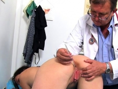 brunette-doctor-gaping-and-cumshot