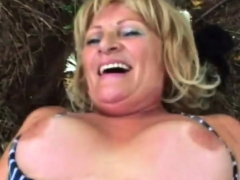 horny granny jumps on top outside granny sex movies