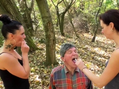 mistress-ronja-and-lady-lucy-dominate-slave-outdoor
