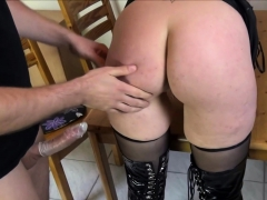 Dominated German Housewife In Latex Punished In Kitchen