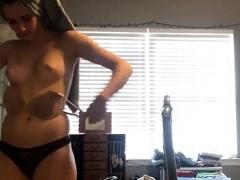 sexy brunette slut changing on hidden cam