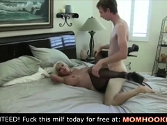 mature bimbo bangs his son's friend!
