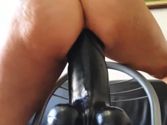 gigantic dildo stretches and wrecks her greedy twat