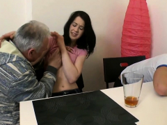 delicious young gal enjoys old hard ramrod entering her slit