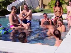 chubby couple joins other swingers in the pool for sexy fun