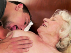 saggy granny gets hairy cunt drilled deeply