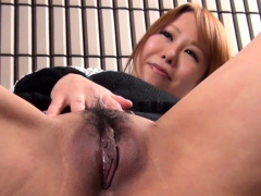 Asian babe strokes cunt