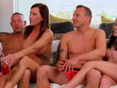 odd couple strips down while they play with other swingers HD