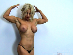cute blonde muscle cougar with massive tits works out