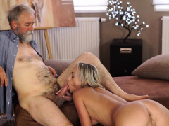 old4k. old dude with beard actively stretches young blonde…