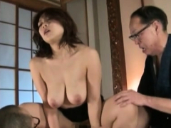 mamma stands submissive and enjoys harsh sex with her son