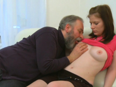 curious young honey gives a oral sex to an old crazy guy
