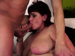 stockinged redhead granny gets penetrated deeply