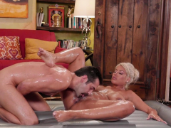 kinky blonde monster boobs milf massage a new clients thing