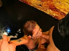 big titted darling gets fur pie and face pissing from 2 studs