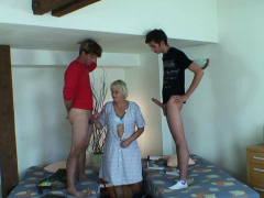 Two teen boys fuck very old blonde cleaning granny