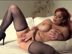 alyssa lynn in sexy red and black fishnets