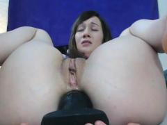 Hairy Teen Sticks Big Butt Plug Up Her Juicy Ass