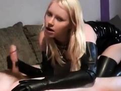 Blonde Blowjob in Long Black Rubber Gloves