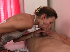 60 years old mature masseuse rides his cock