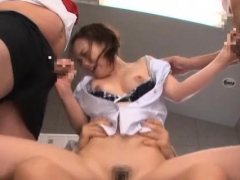 Undressed japan bitch screams with chaps fucking her hard