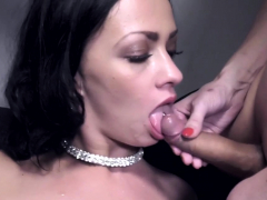 Cock gobbled shemale fucks pussy
