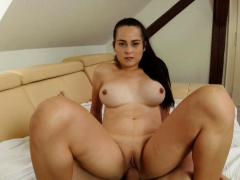 ponytail brunette rides hard cock in pov