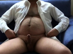 mature exhibitionist - horny in suit, stripping