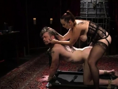 Mistress Pegging a Tied Guy