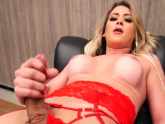 Red lingerie tgirl plays with cock solo