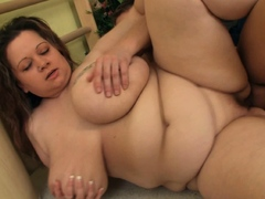 big-belly-plumper-gives-titjob-and-spreads-legs