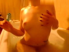 kinky solo brunette stripping in shower Striptease