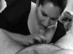 French slut gives a hot handjob that end with a cumshot