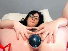Stuffing Huge Balls in Her Loose Pussy