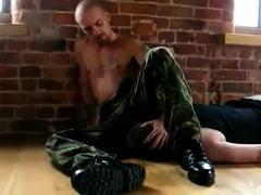 Military alphaman farts on faggots face