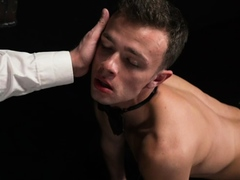 Masked daddy fucks young slave boy with glass dildo