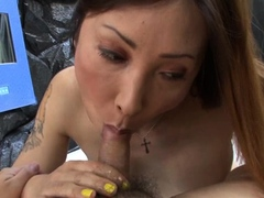 Hairy ladyboys play with their shecocks after hot blowjob