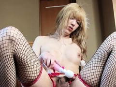 Sexy shemale toys around toys she has wet and desires more