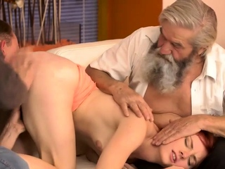 DADDY4K. Boy and his bearded father team up to punish