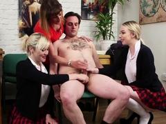 CFNM british schoolgirls giving group handjob