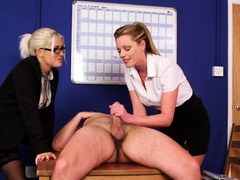 CFNM office babes blackmail and suck off sub