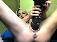Hot Wife Fucking a Giant Dildo