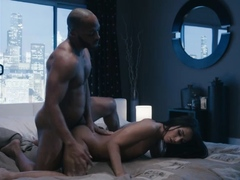 Horny shemale rides husbands black cock