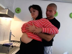 Cooking fat girlfriend getting banged from behind
